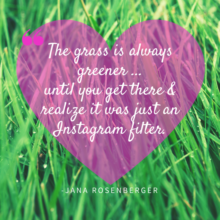 The grass is always greener on the others side, until you get there and realize it was just an Instagram filter the whole time!