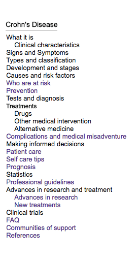 Left Sidebar in Seenso for Crohn's Disease